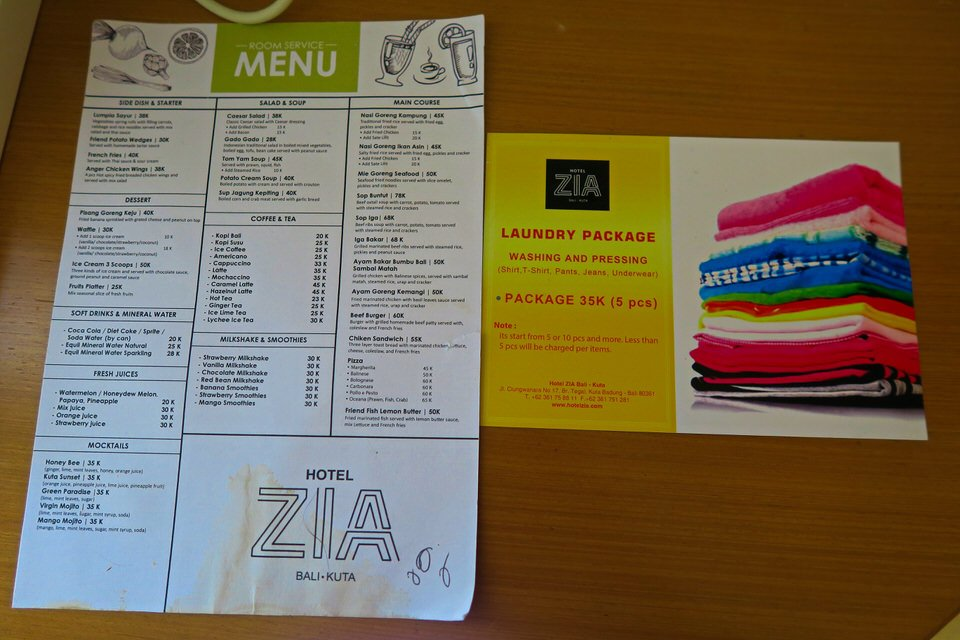 ZIA Kuta Bali Room Service Food Laundry 1